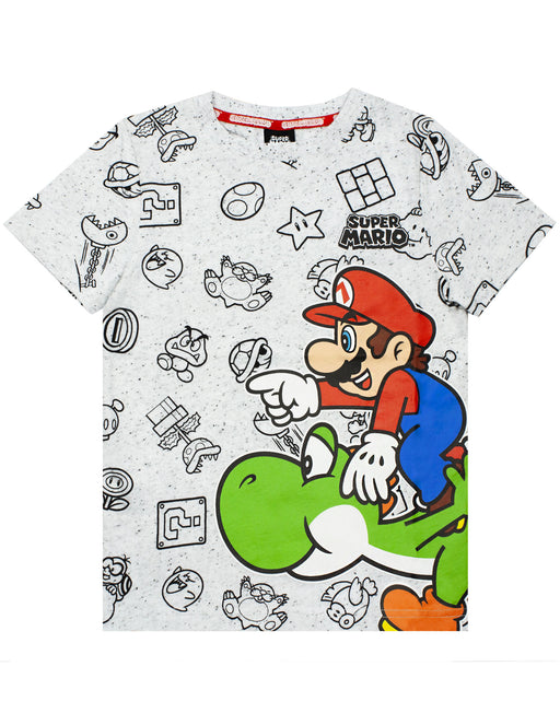 Nintendo Super Mario And Yoshi Boy's Kids Grey Character T-Shirt