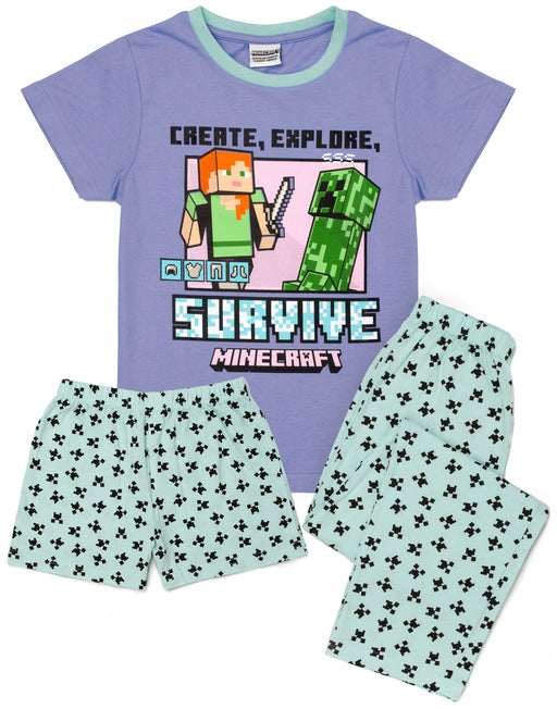 Minecraft Pyjamas Girls Long OR Short Bottom Options Kids Gamer PJs