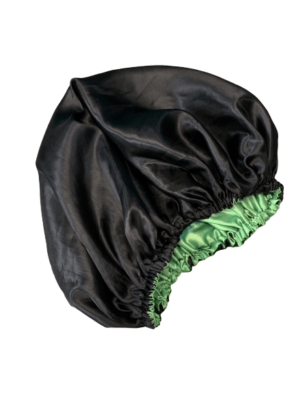Lime Green and Black Embroidered 2-n-1 Reversible Charmeuse Satin Bonnet | STRANDS OF FAITH