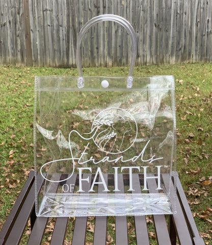 Clear Strands of Faith Logo Tote | STRANDS OF FAITH