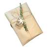 Eco-friendly natural Kraft paper gift wrapping with jute cord, handmade charms and recycled paper gift ta