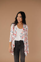 Blossoms On Subtle Stripes Cardigan In Pink