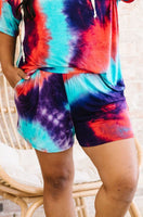 Cheer Me Up Tie Dye Shorts In Aqua