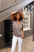 Essential V-Neck Tee In Mocha