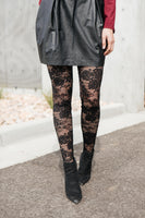 Fanciful Floral Leggings In Black