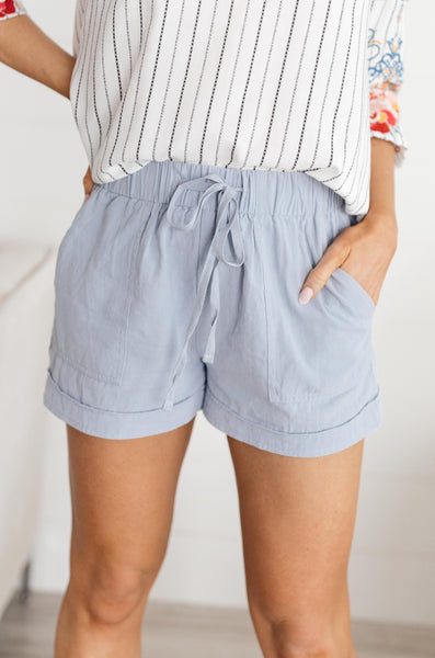 Lightweight and Linen Shorts in Baby Blue