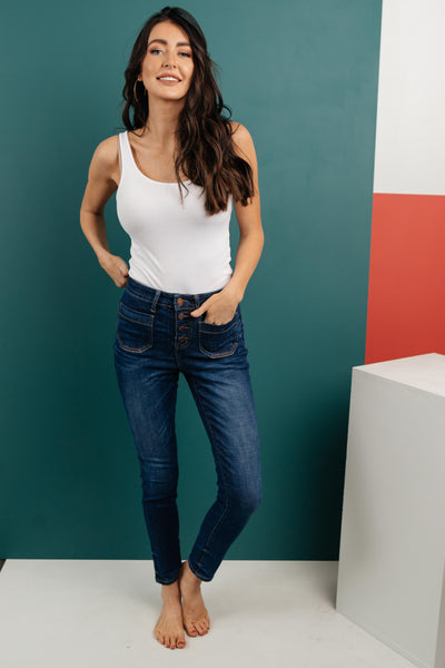 The One With Unique Pockets Medium Wash Jeans