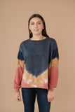 Tie Dye Chevron Pullover In Blue