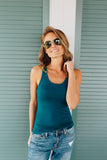 Basic Scoop Neck Tank In Teal