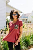 Basic V-neck Tee With A Spot Of Fun In Marsala