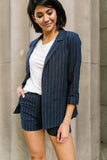 Business Casual Pinstriped Shorts