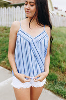 Business Or Pleasure Striped Tank in Blue