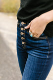 Buttons + Fringe High Rise Jeans