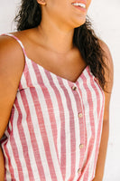 Candy Striped Tie Front Cami