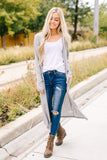 Farmer's Market Two-Tone Cardi In Gray