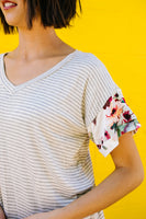 Flowers On The Sleeves Striped V-Neck