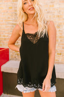 Frosted With Lace Camisole In Black