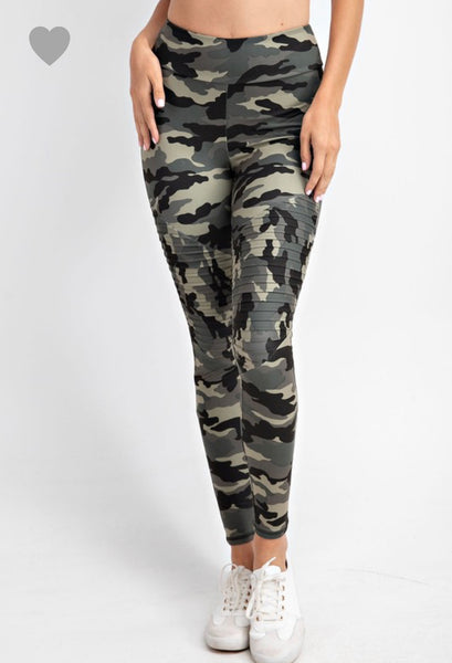 Camouflage Moto Leggings in Olive