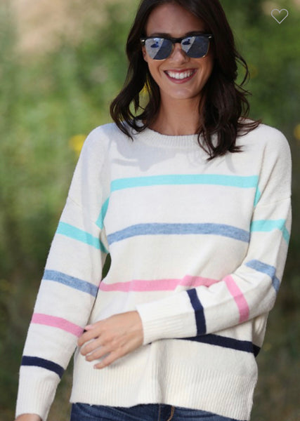A Hint of Color Sweater in Cream