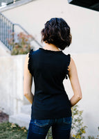 Ruffled Neck Sleeveless Top