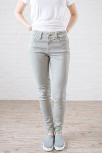 Low Rise Skinny Jeans- light sage