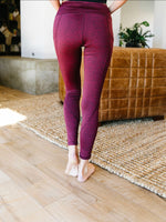 Tadasana Two-Tone Leggings In Burgundy & Navy