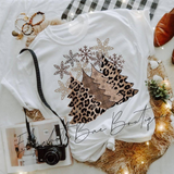 Leopard Christmas Tree Tee***made to order***