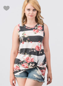Stripes and floral Tank