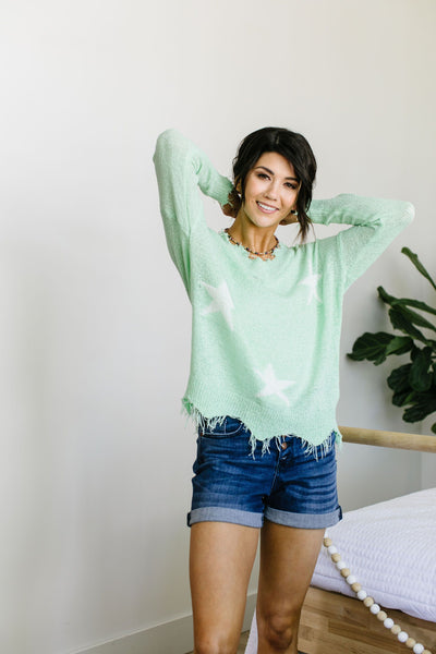 Minty Destroyed Star Sweater