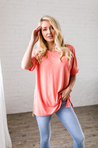 Nessa Crew Neck Top In Coral