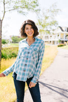 Pale Plaid Button-Down In Aqua