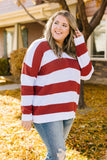 Room With A View Striped V-Neck Sweater in Rust