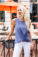 Sleeveless Twist And Cross Top In Powder Blue