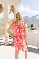 Spotted Rosette Dress In Red Coral
