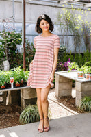 Stripes T-Shirt Dress In Rose