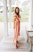 Watercolor Sunset Striped Dress
