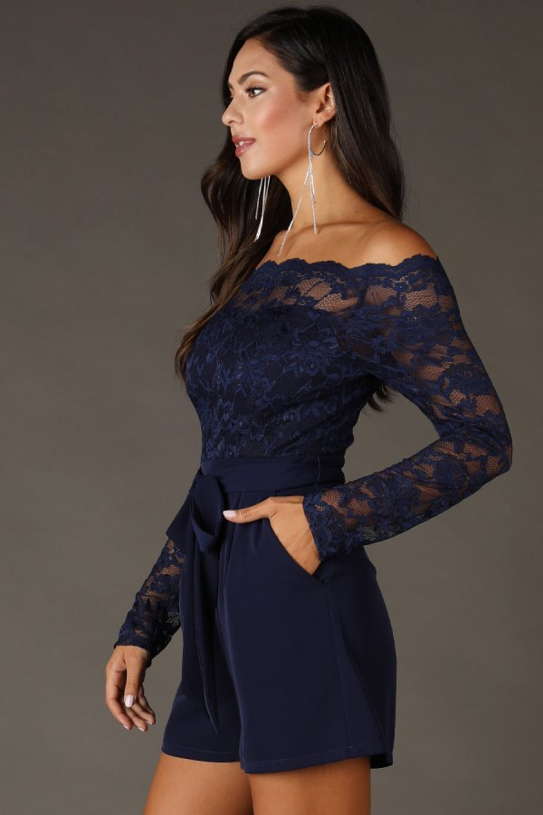 Lace Top Off Shoulder Romper