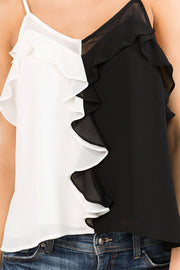 Sheer Neckline Ruffled Top