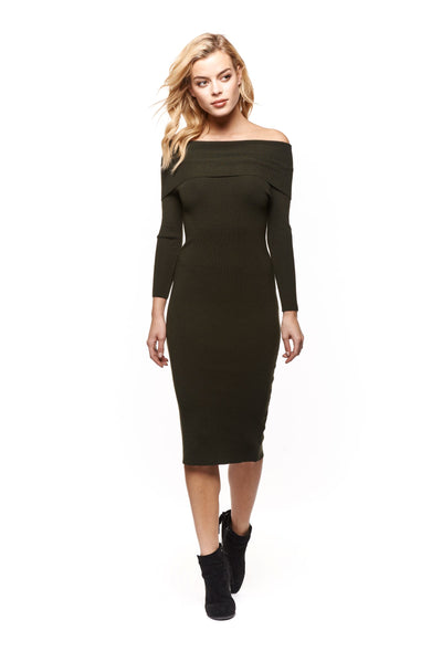 Midi Sweater Dress in Dark Loden