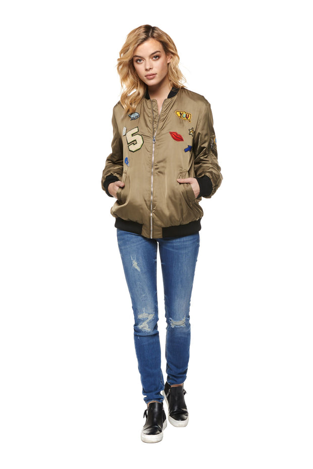 Long Sleeve Zip Up Jacket with Patches