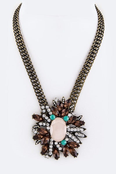 Mix Crystals Flower Necklace