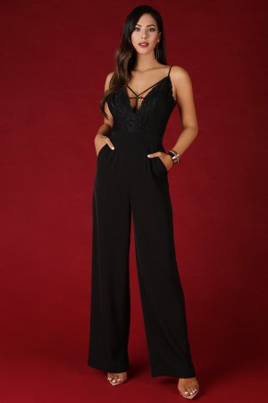 Deep Neck Caged Jumpsuit