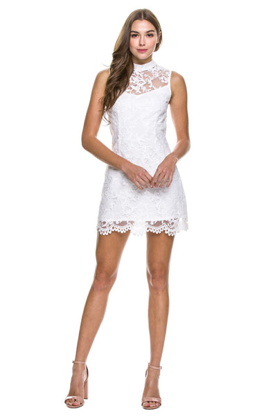 Semi neck Dress with Floral Lace