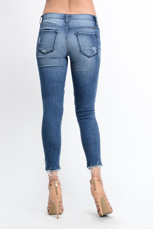 Low-rise mid-wash cropped motor denim