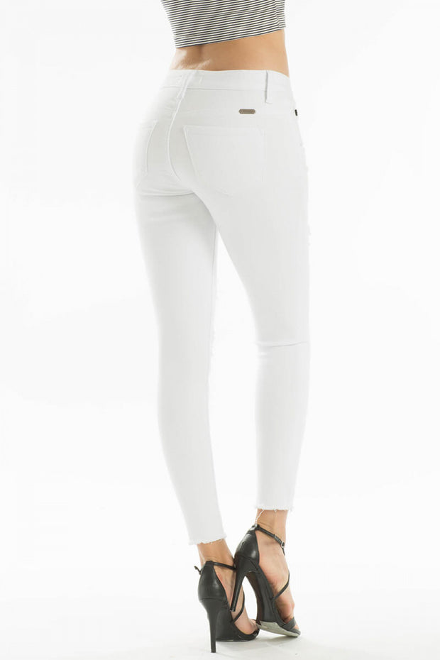 Distressed White Skinny Jeans