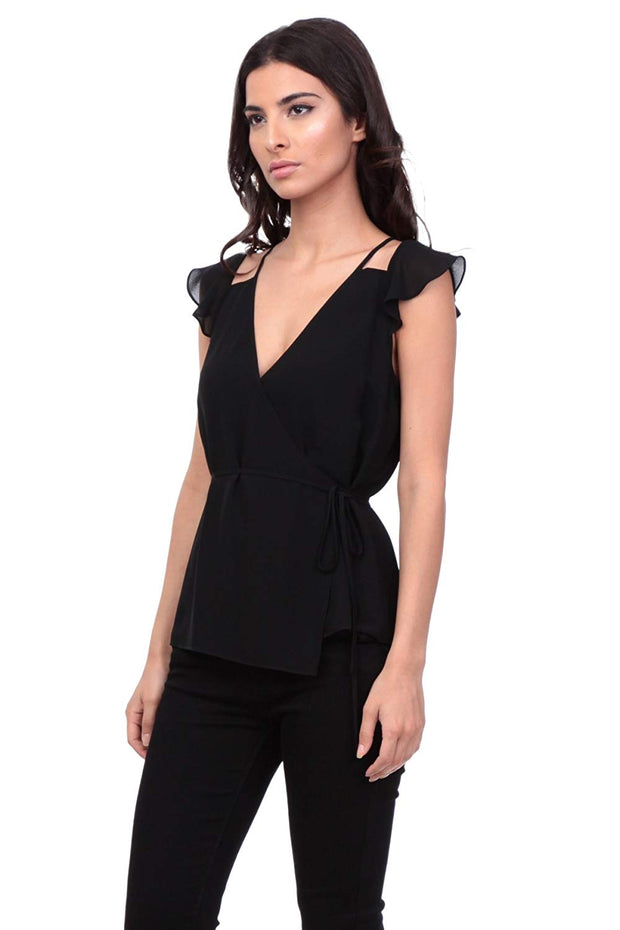 SIDE TIED CUT OUT BLOUSE