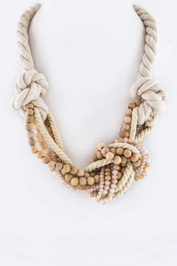 Mix Beads Layer Self-Knot Rope Necklace