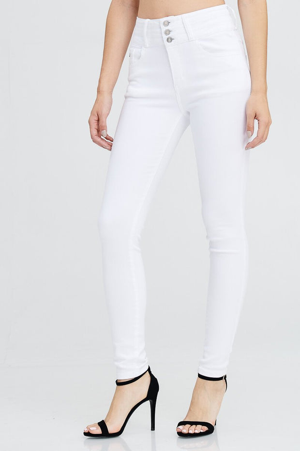 High Waist 3 Button Skinny Jeans