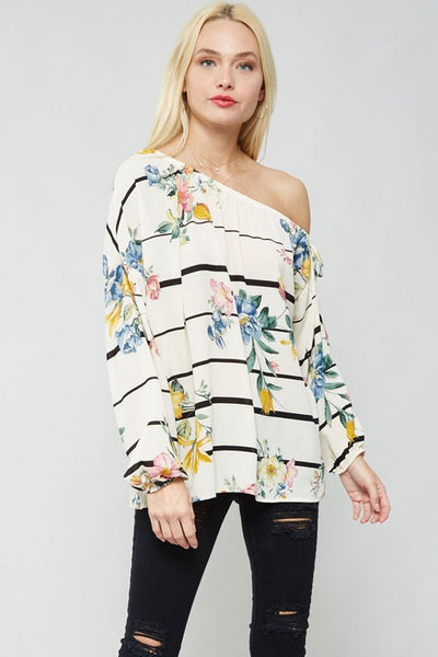 Loose Fit One-shoulder Floral Woven Top