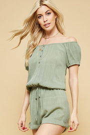 Elasticized Off-the-shoulder Romper